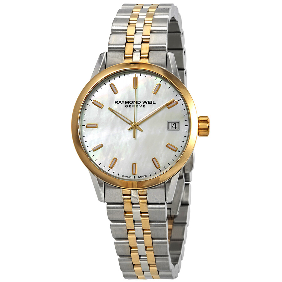 49dead2866 Raymond Weil Freelancer Mother of Pearl Dial Ladies Two Tone Watch  5634-STP-97021 ...