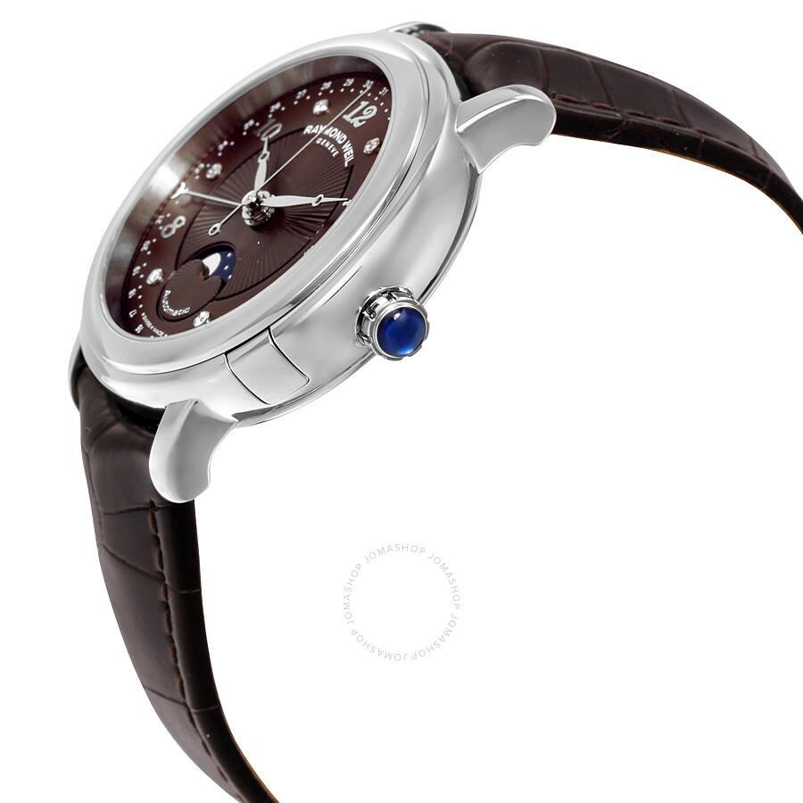 a74acf69f ... Raymond Weil Maestro Automatic Brown Diamond Dial Dark Brown Leather Ladies  Watch 2739-L2- ...