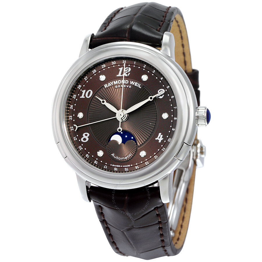 Raymond Weil Maestro Automatic Brown Diamond Dial Dark Brown Leather Ladies  Watch 2739-L2- ...