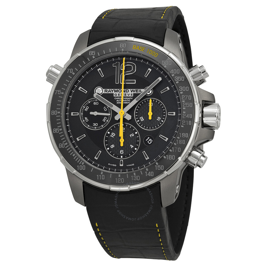 Raymond weil nabucco automatic chronograph black dial black rubber men 39 s watch 7850 tir 05207 for Raymond weil watch
