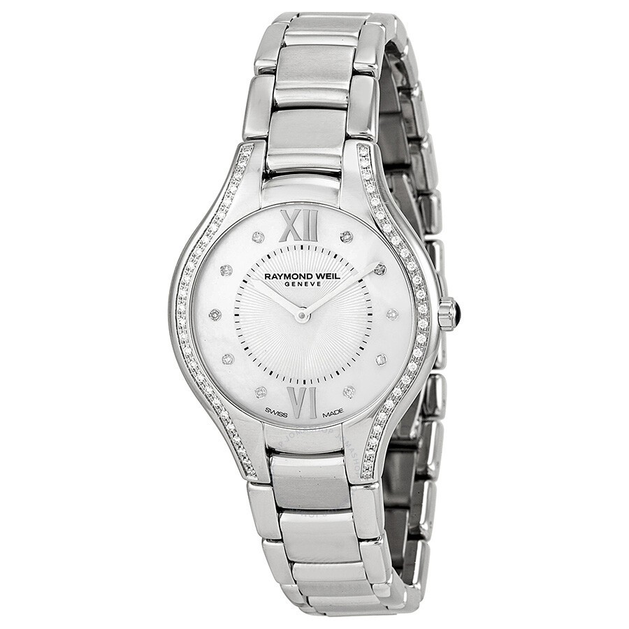 Raymond weil noemia mother of pearl dial stainless steel diamond ladies watch 5132 sts 00985 for Pearl watches
