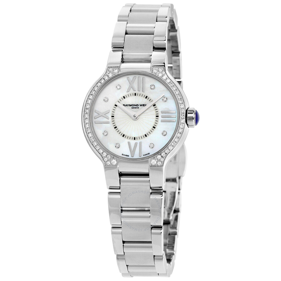 Raymond weil noemia mother of pearl diamond studded dial ladies watch 5927 sts 00995 noemia for Raymond weil watch