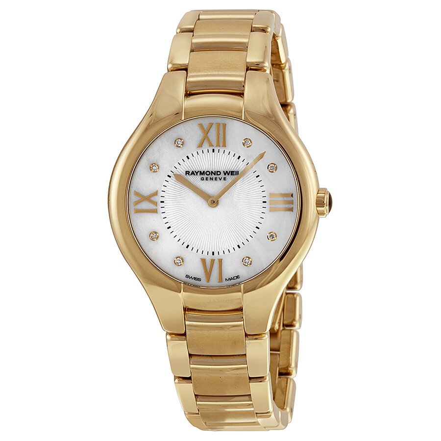 Raymond weil noemia mother of pearl diamond yellow gold pvd steel ladies watch 5136 p 00995 for Pearl watches