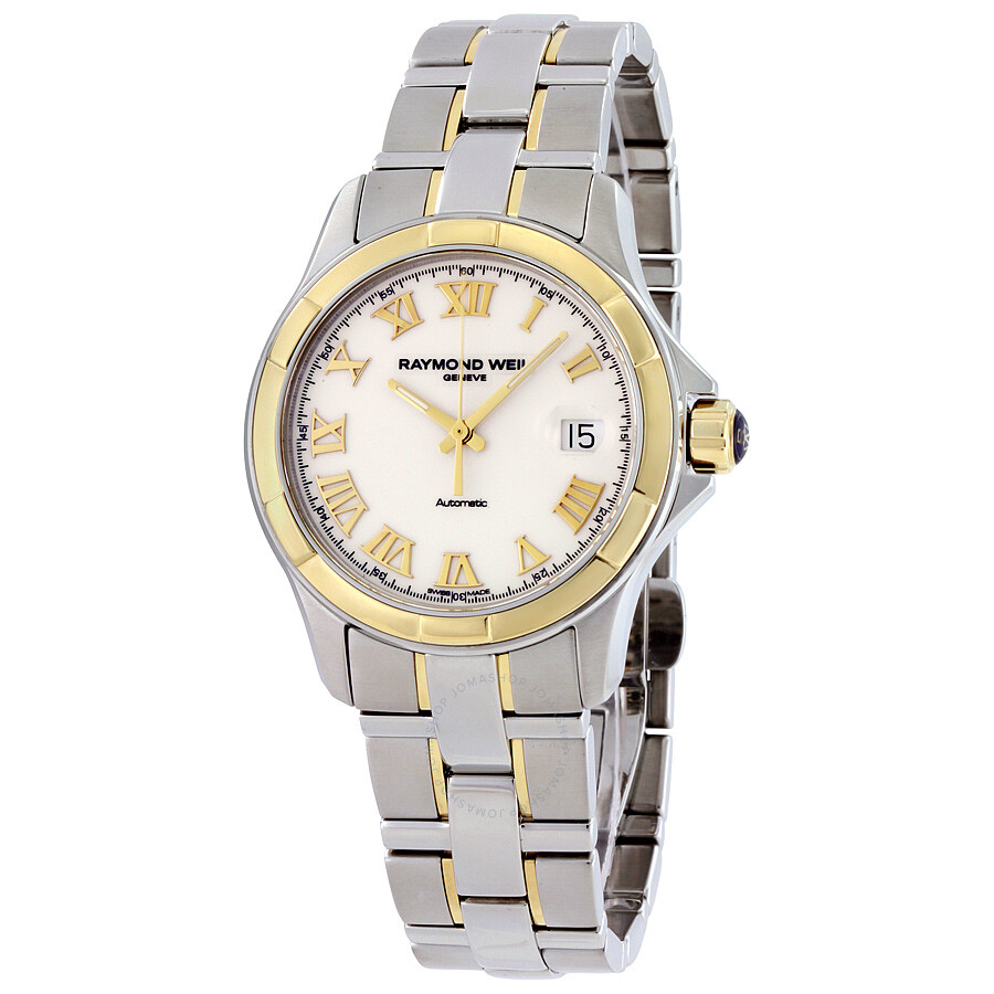 Raymond weil parsifal automatic white dial 18 kt yellow gold and steel men 39 s watch 2970 sg 00308 for Raymond weil watch
