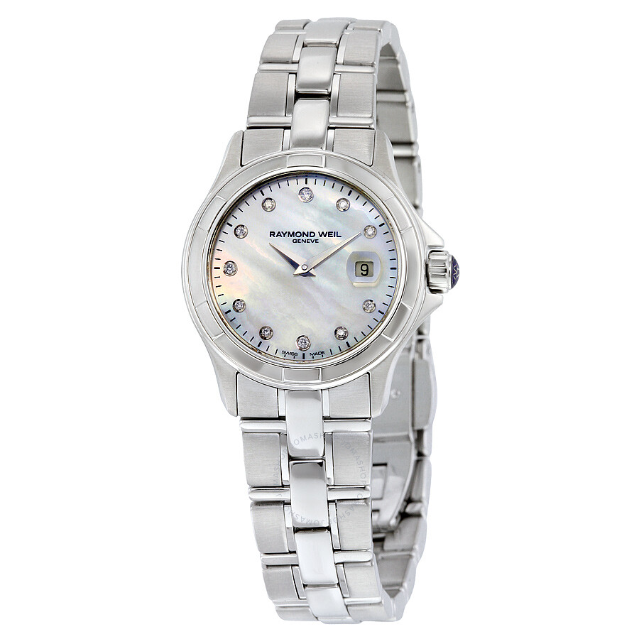 Raymond weil parsifal mother of pearl diamond dial ladies watch 9460 st 97081 parsifal for Raymond weil watch