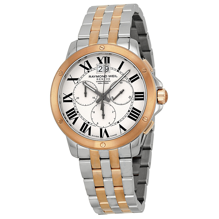 raymond weil tango off white dial two tone mens watch sp5