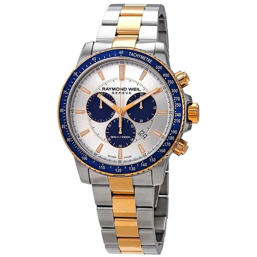 Raymond Weil Tango Silver Dial Men S Chronograph Two Tone Watch 8570