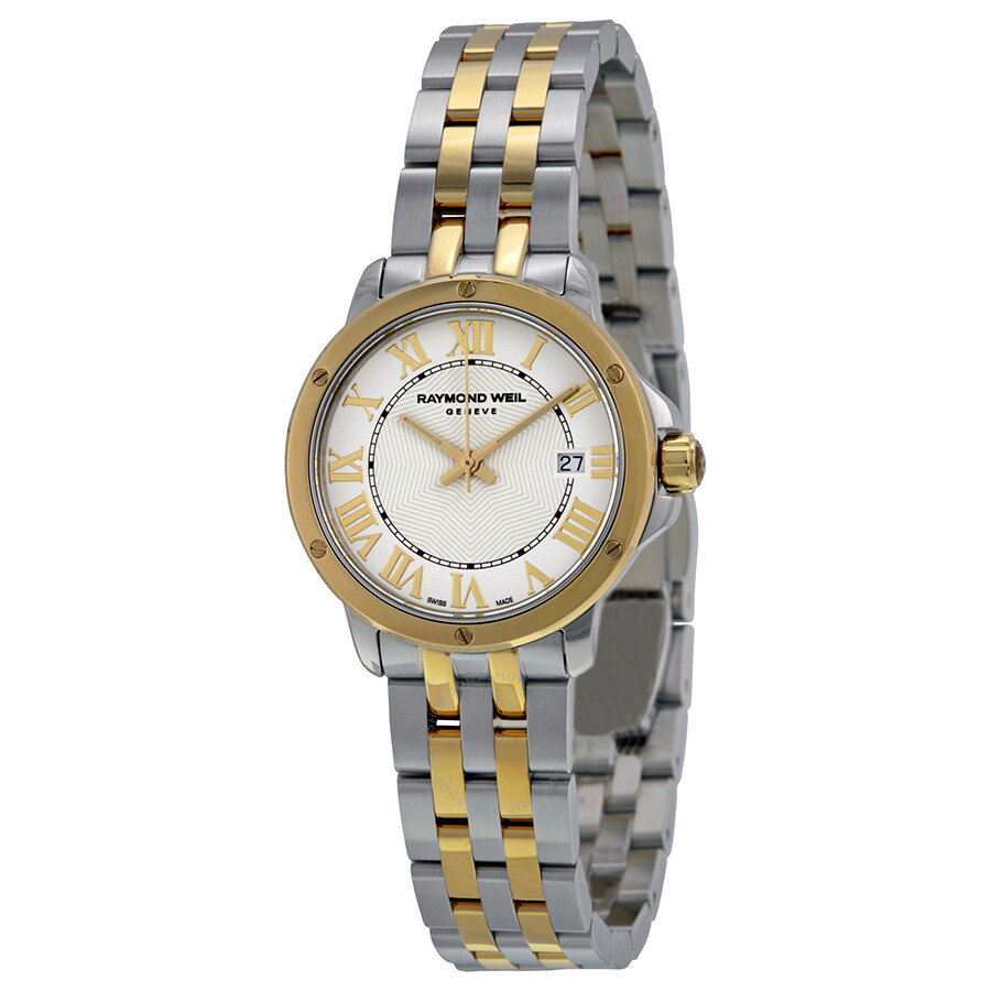 Raymond weil tango white dial two tone ladies watch 5391 stp 00308 tango raymond weil for Raymond weil watch