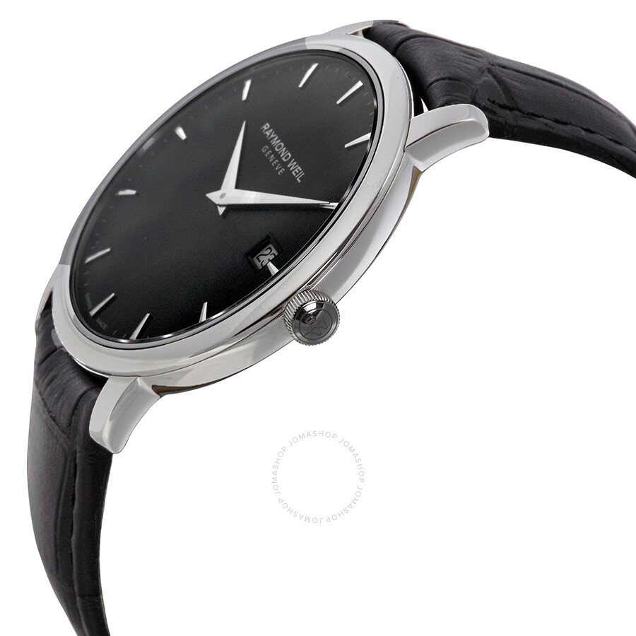 Raymond weil toccata black dial black leather strap men 39 s watch 5588 stc 20001 toccata for Black leather strap men