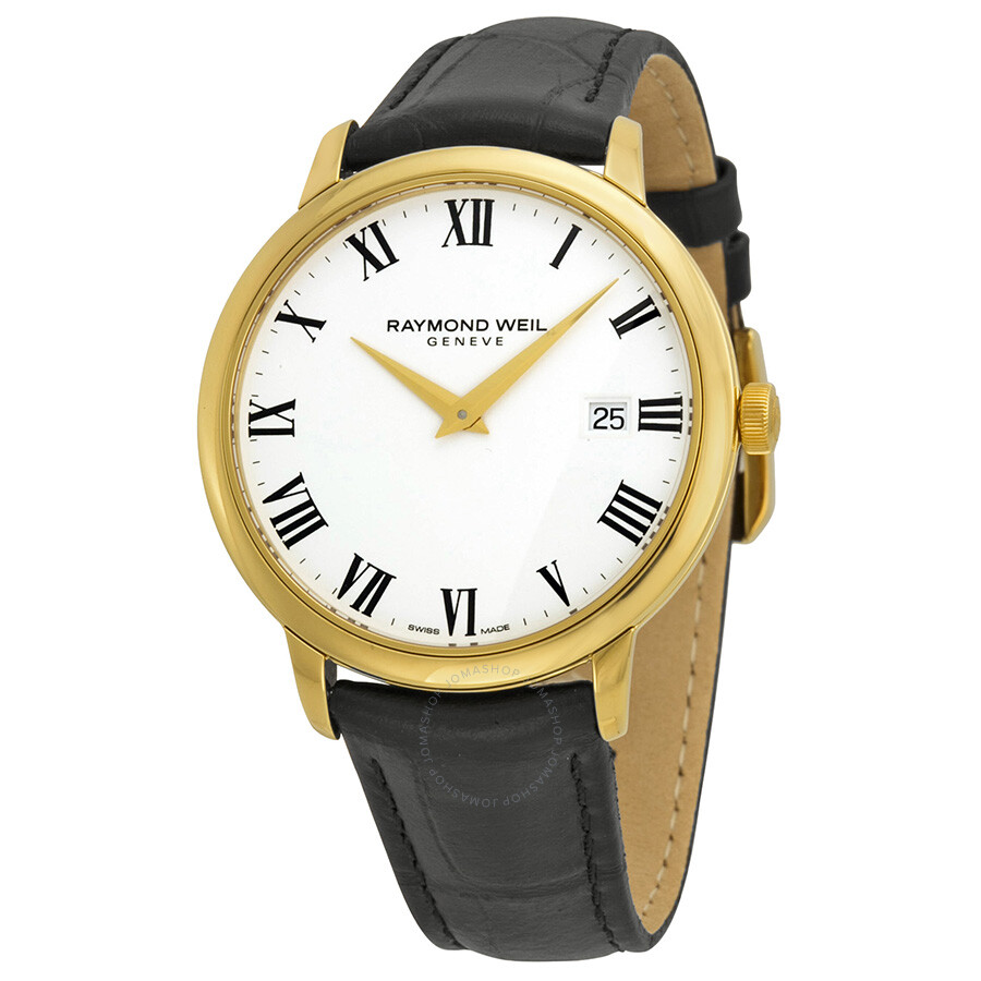 Raymond weil toccata white dial black leather men 39 s watch 5488 pc 00300 toccata raymond weil for Raymond weil watch