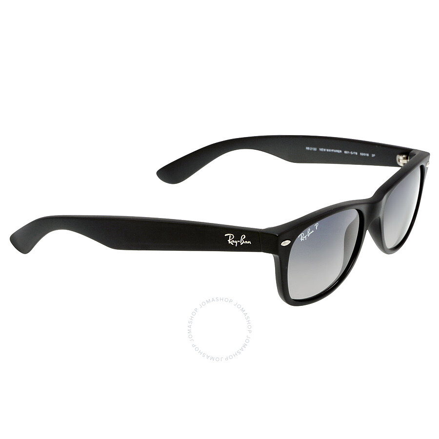 a137f080076ac4 ... Open Box - Ray-Ban Wayfarer Classic Polarized Blue Grey Black Nylon  Sunglasses RB2132 601S78 ...
