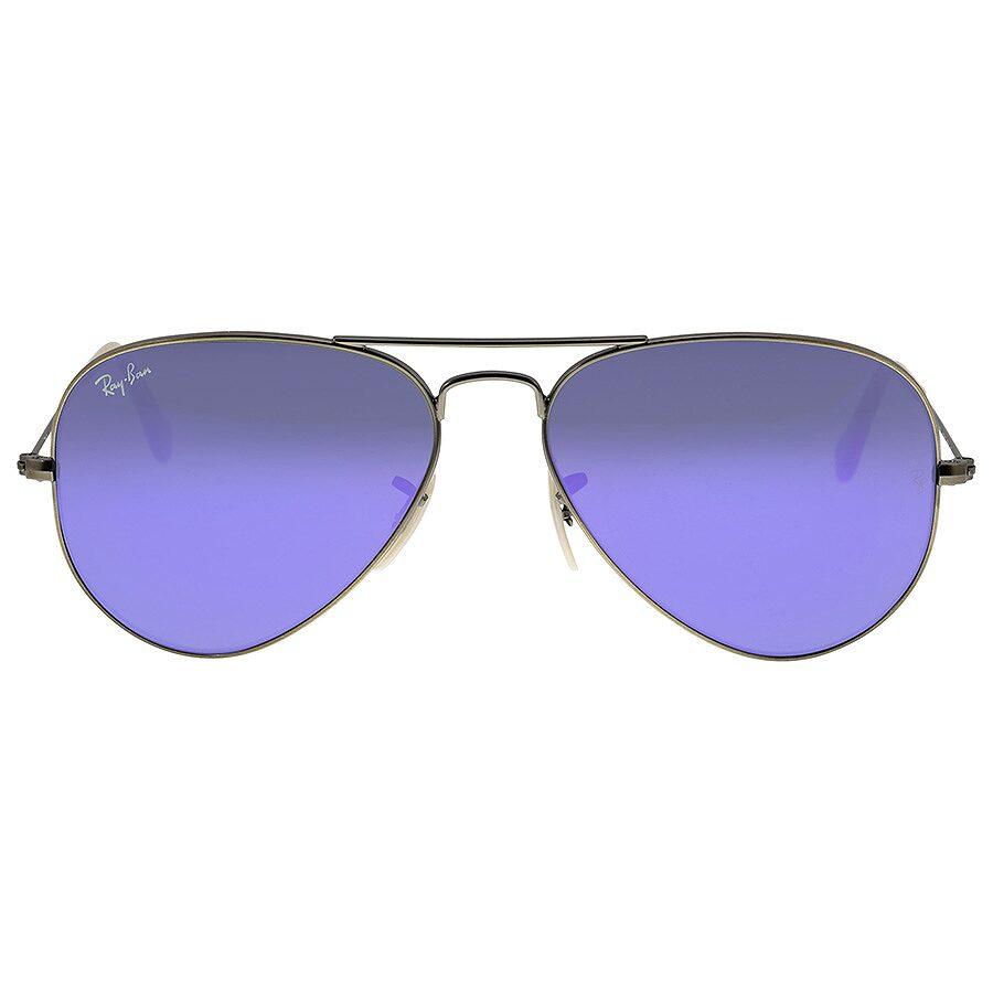 Open box ray ban aviator silver metal violet mirror non for Ray ban aviator verre miroir
