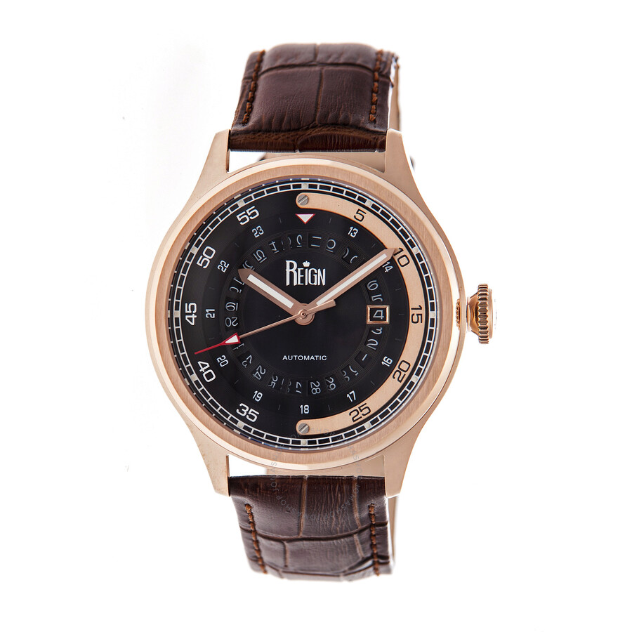 Reign targaryen black dial black leather strap rose gold tone stainless steel case men 39 s watch for Black leather strap