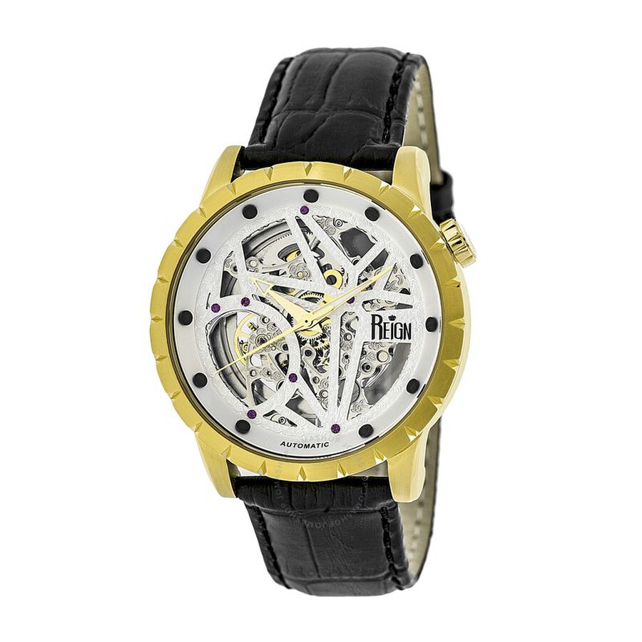 xavier gold tone black leather s rn3903
