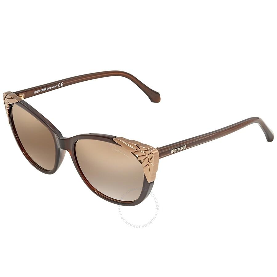 a9e1ab16ba8cc Roberto Cavalli Brown Mirror Cat Eye Sunglasses RC1034 50G 56 ...