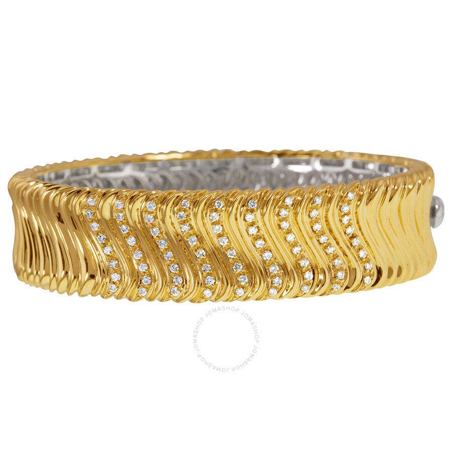 Roberto Coin 18k Yellow Gold Diamond Cuff Bracelet
