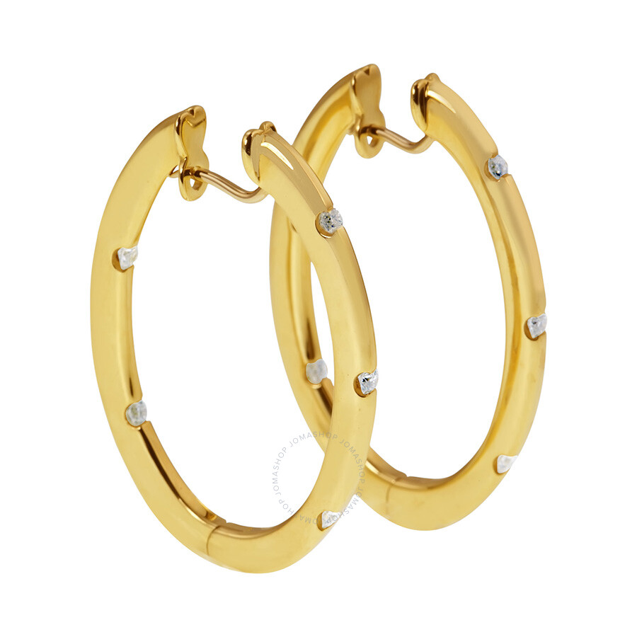 ec0a4eb0d Roberto Coin 18K Yellow Gold Diamond Hoop Earrings - Ladies Jewelry ...