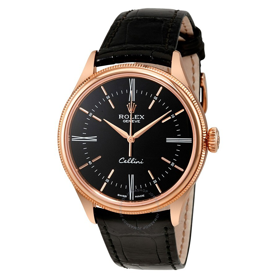 Rolex cellini black dial 18 carat everose gold automatic men 39 s watch 50505bksl cellini rolex for Rolex cellini