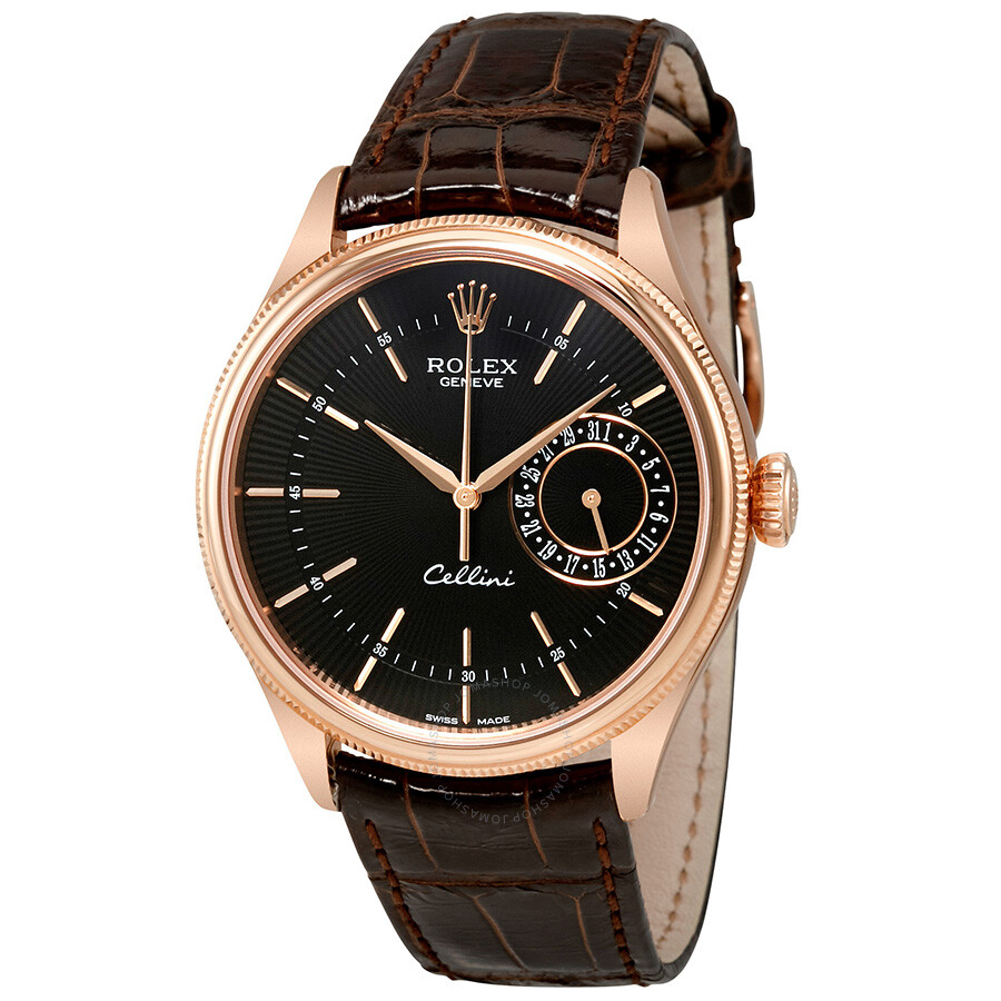Rolex cellini black dial 18k rose gold automatic men 39 s watch 50515bksbrl cellini rolex for Rolex cellini