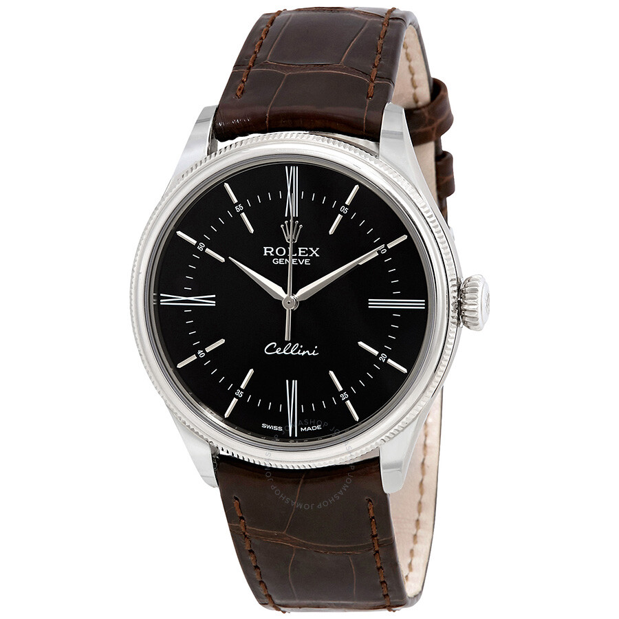 Rolex cellini automatic black dial brown leather men 39 s watch 50509brsl cellini rolex for Rolex cellini