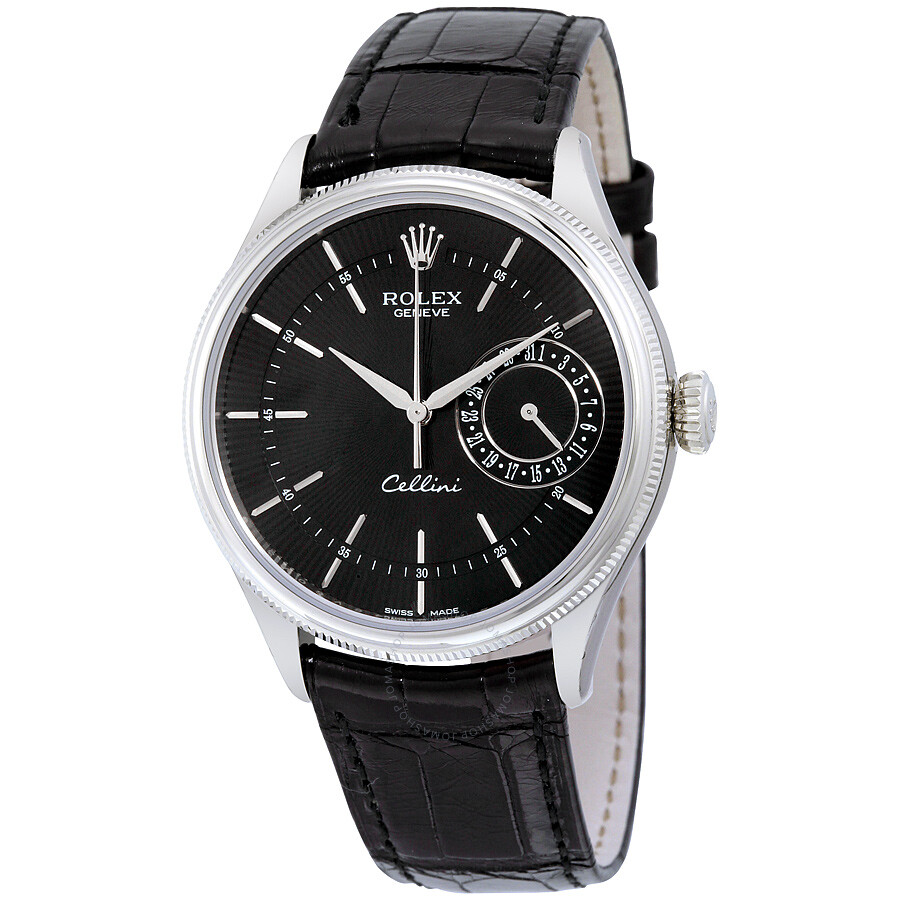 Rolex cellini date black dial 18kt white gold men 39 s watch 50519bksbkl cellini rolex for Rolex cellini