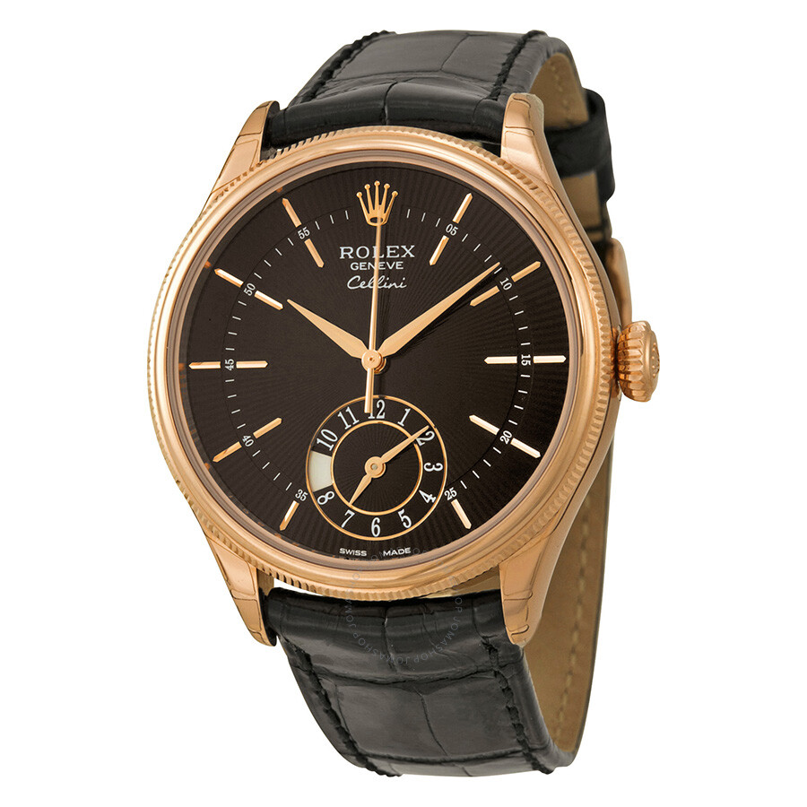 Rolex cellini dual time black dial 18kt everose gold men 39 s watch 50525bksbkl cellini rolex for Rolex cellini