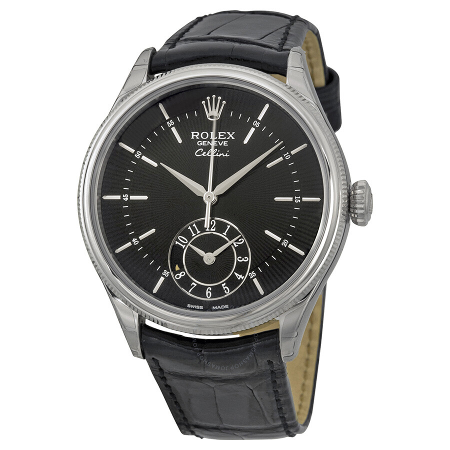 Rolex cellini dual time black dial 18k white gold men 39 s watch 50529bksbkl cellini rolex for Rolex cellini