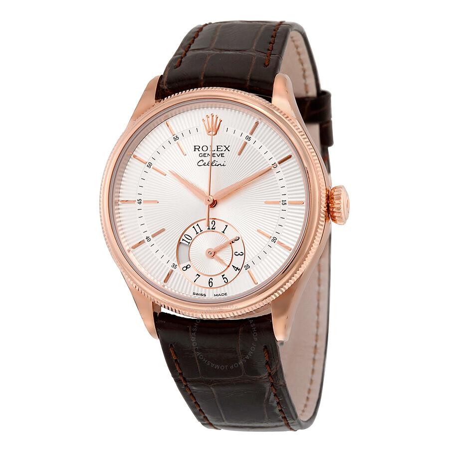 Rolex Cellini Dual Time Silver Dial 18kt Everose Gold Men's Watch ...
