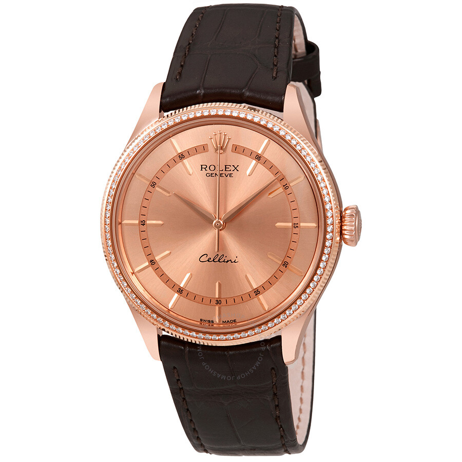 Cellini Diamond: Rolex Cellini Pink Gold Diamond 18K Everose Gold Men's