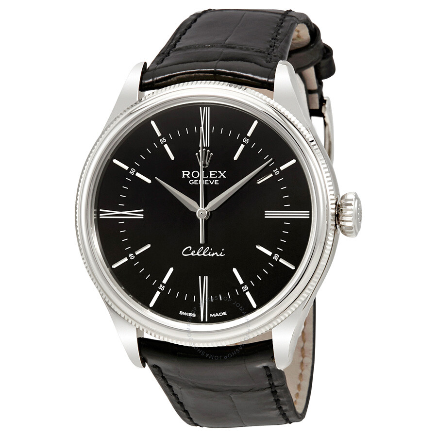 Rolex cellini time black dial automatic men 39 s 18 carat white gold watch 50509bksl cellini for Rolex cellini