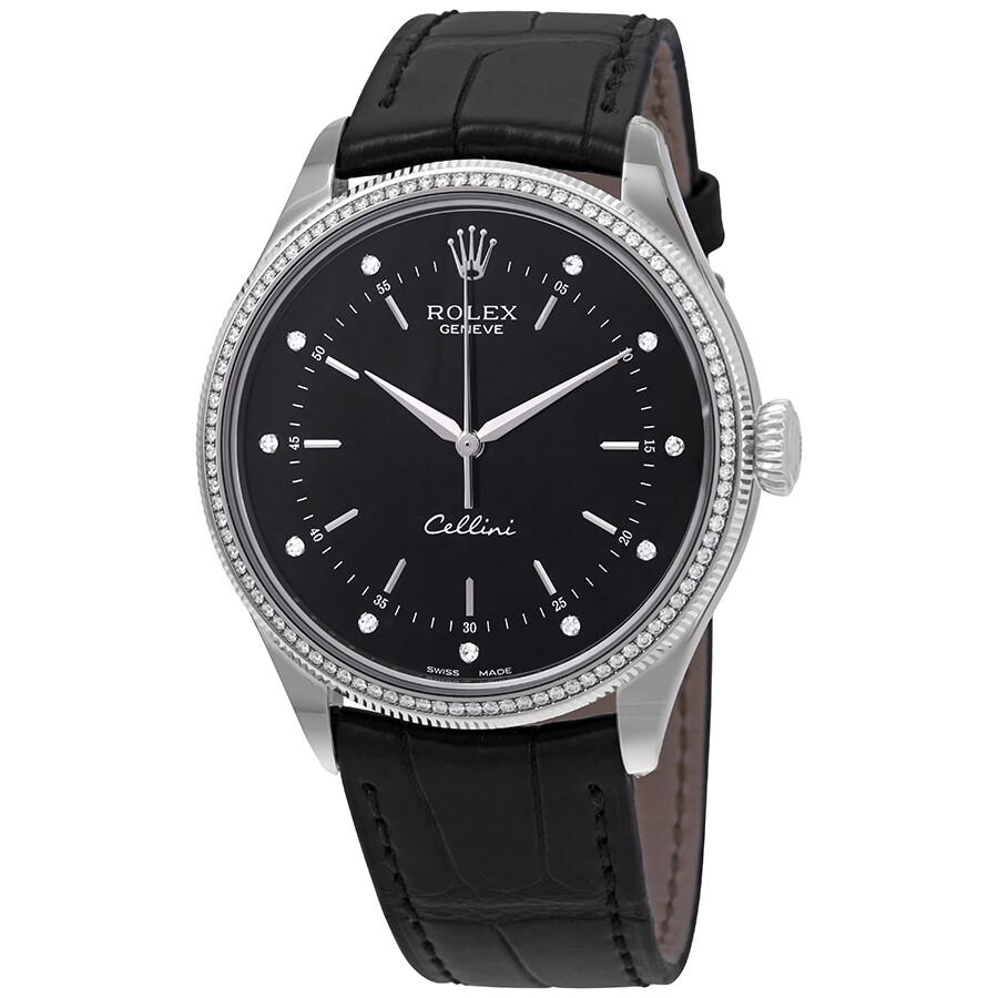 Cellini Diamond: Rolex Cellini Time Black Diamond Dial Automatic Men's