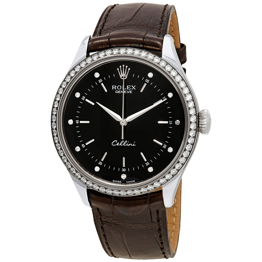 Cellini Diamond: Rolex Cellini Time Black Diamond Dial Ladies Leather Watch