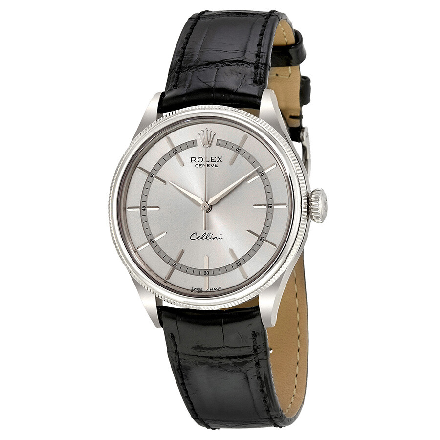 rolex cellini time silver automatic s 18 carat