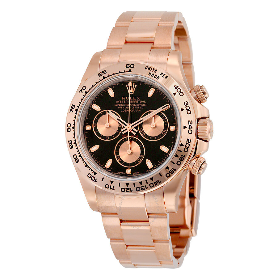 Rolex Cosmograph Daytona Black Dial 18K Everose Gold Oyster Bracelet  Automatic Men\u0027s Watch 116505BKSO