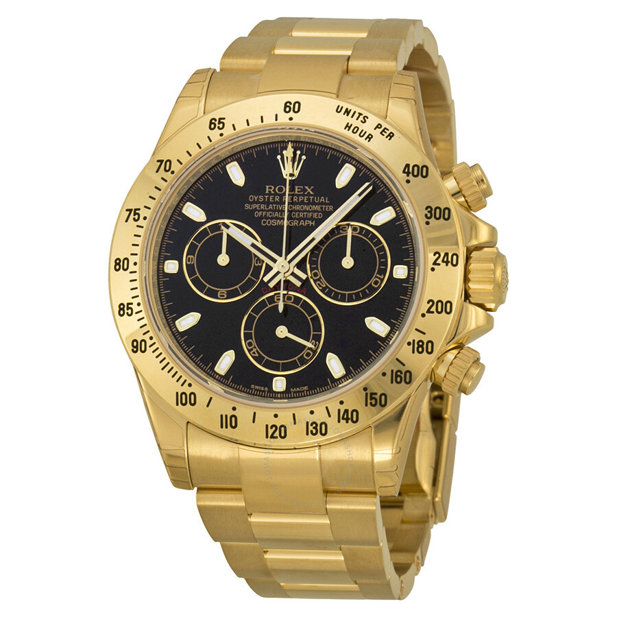 Rolex cosmograph daytona black dial 18t yellow gold oyster bracelet men 39 s watch 116528bkso for Rolex cosmograph daytona