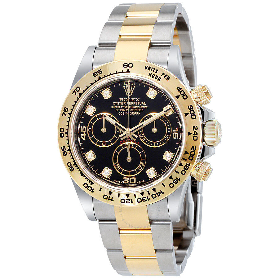 Rolex Cosmograph Daytona Black Diamond Dial Steel and 18K Yellow Gold Men\u0027s  Watch 116503BKDO