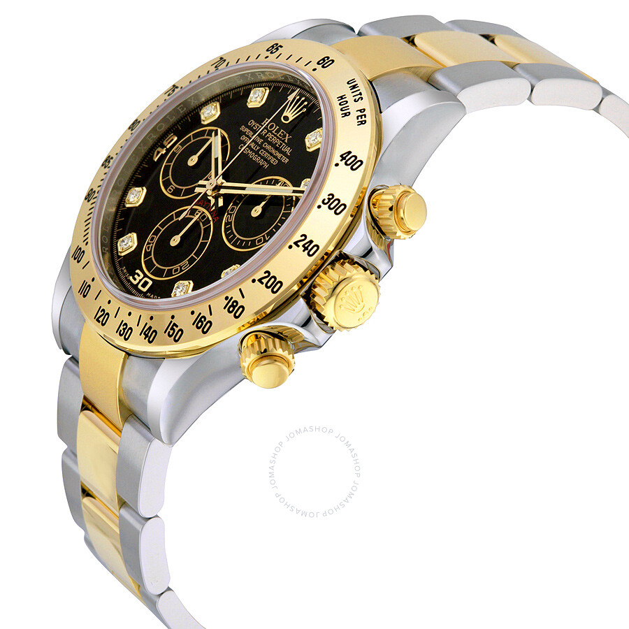 ... Rolex Cosmograph Daytona Black set with Diamonds Dial Stainless steel  and 18K Yellow Gold Oyster Bracelet ... 7879d61b166