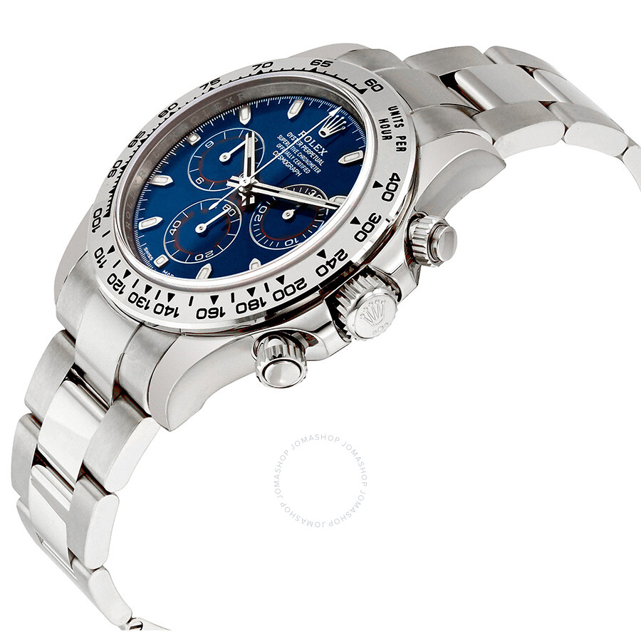 Rolex Cosmograph Daytona Blue Dial 18k White Gold Oyster Men S Watch