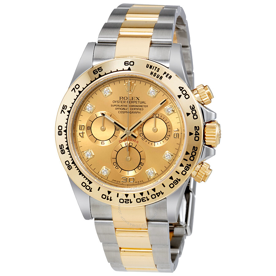 rolex cosmograph daytona champagne diamond dial steel and