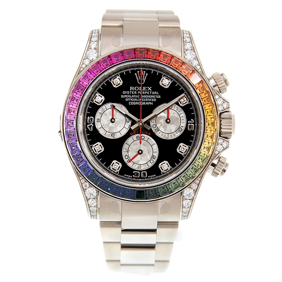 Rolex Cosmograph Daytona Chronograph Rainbow Diamond Black Dial Watch  116599 RBOW