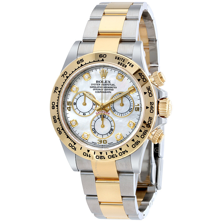 Rolex cosmograph daytona mother of pearl diamond steel and 18k yellow gold men 39 s watch 116503mdo for Rolex watch