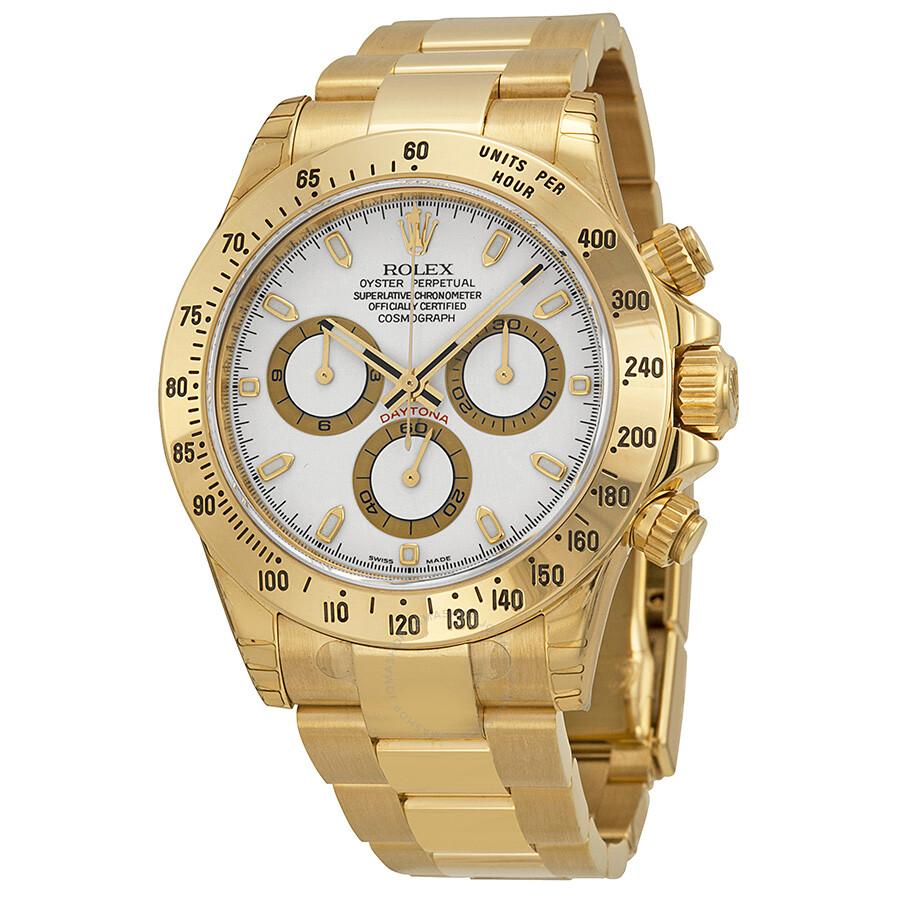 be6113e7edd Rolex Cosmograph Daytona White Dial 18K Yellow Gold Oyster Bracelet  Automatic Men s Watch 116528WSO Item No. 116528-WSO