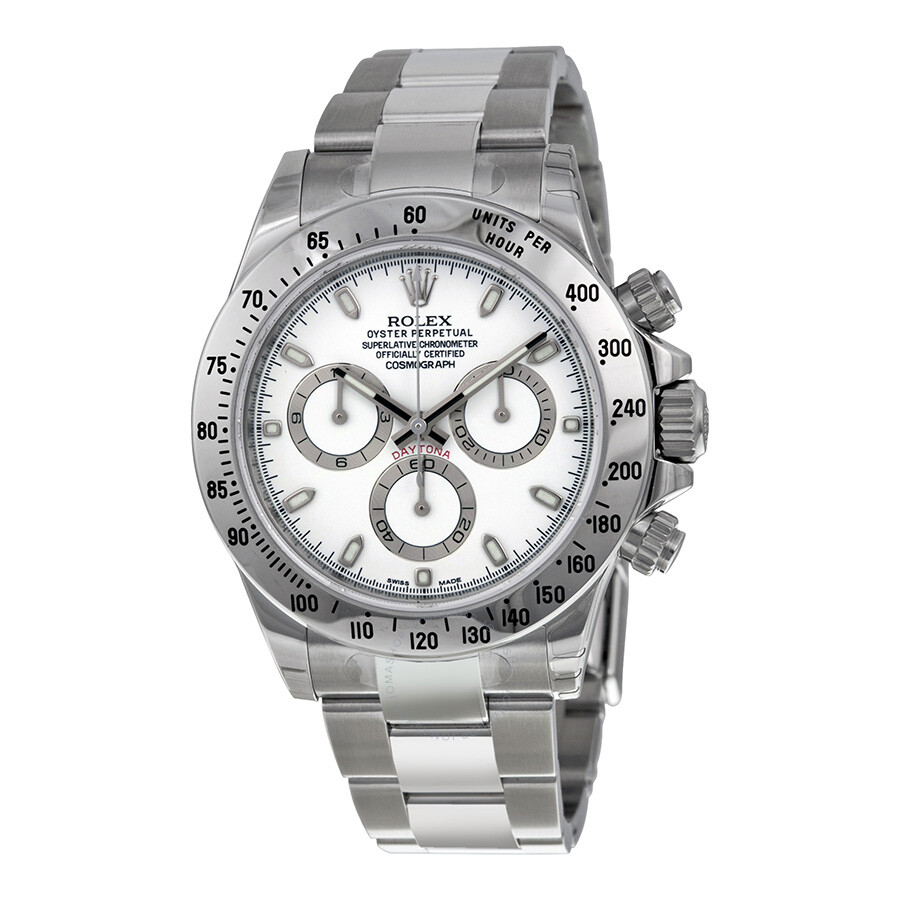 Rolex cosmograph daytona white dial stainless steel oyster bracelet automatic men 39 s watch for Rolex cosmograph daytona