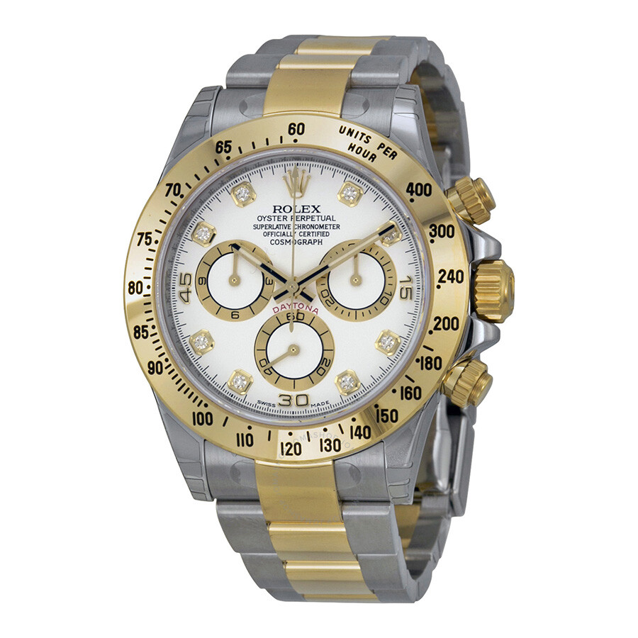 5cc63b3c7f5 Rolex Cosmograph Daytona White With 8 Diamonds Dial Stainless steel and 18K  Yellow Gold Oyster Bracelet Automatic Men's Watch 116523WDO Item No.  116523-WDO