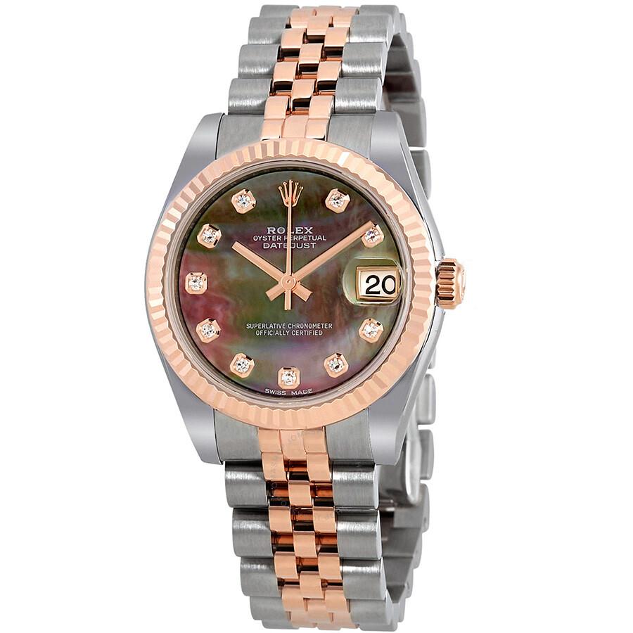 deef479d84bf Rolex Datejust 31 Black Mother of Pearl Diamond Dial Automatic Ladies Watch  178271BKMDJ ...
