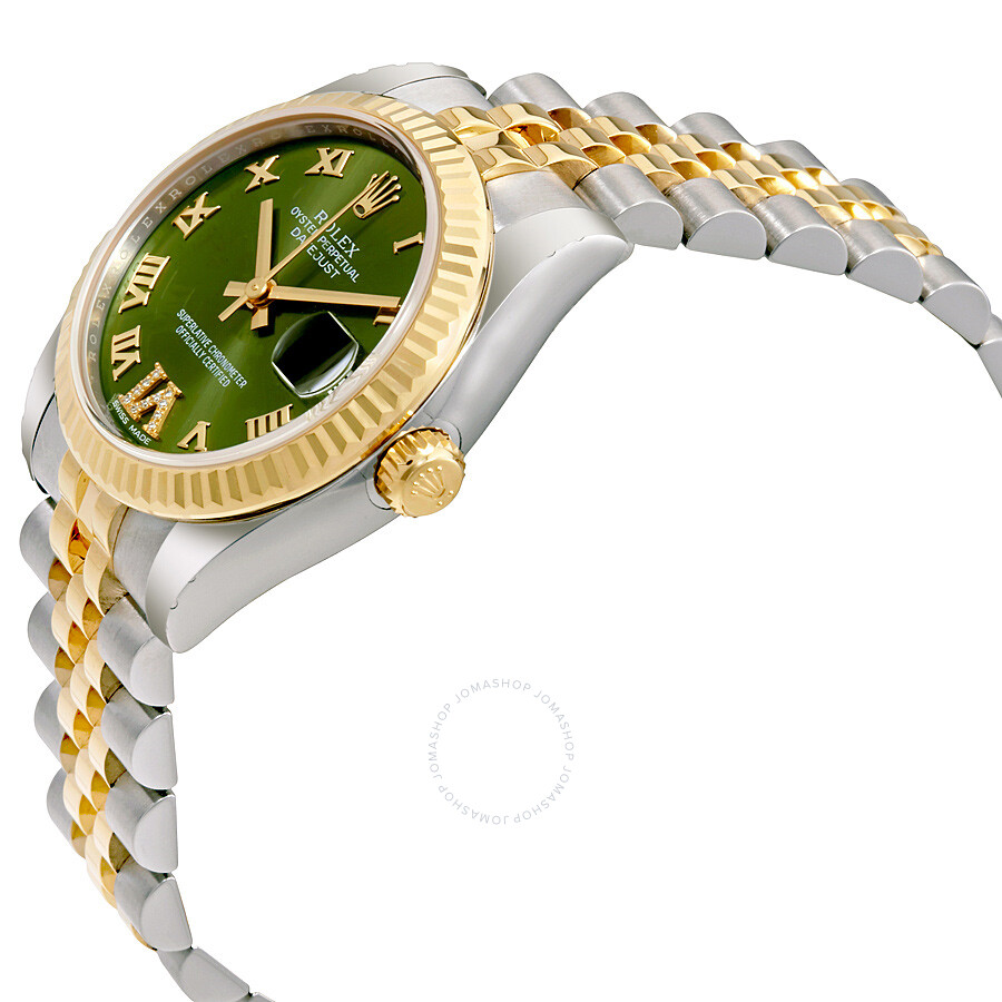 rolex datejust 31 green roman numeral diamond dial steel and 18k