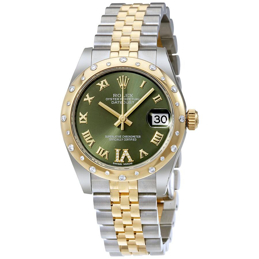 Rolex Datejust 31 Green Roman Numeral Diamond Dial Steel and 18K Yellow  Gold Ladies Watch 178343GNRDJ ... 25bed2071f