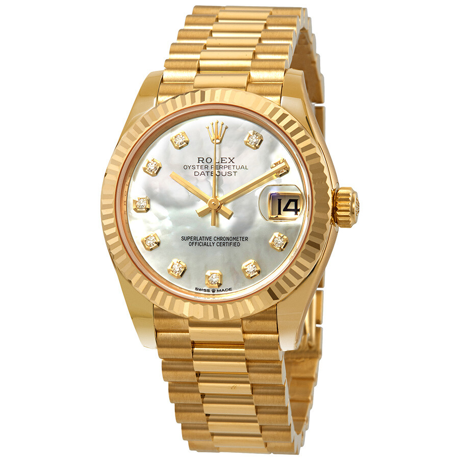 696c8dac867 Rolex Datejust 31 Mother of Pearl Diamond Dial Ladies 18kt Yellow Gold  President Watch 278278MDP ...