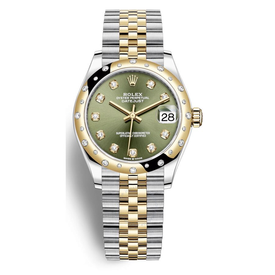 Rolex Datejust 31 Olive Green Diamond Dial Automatic Ladies Steel and 18kt  Yellow Gold Jubilee Watch 278343GNDJ