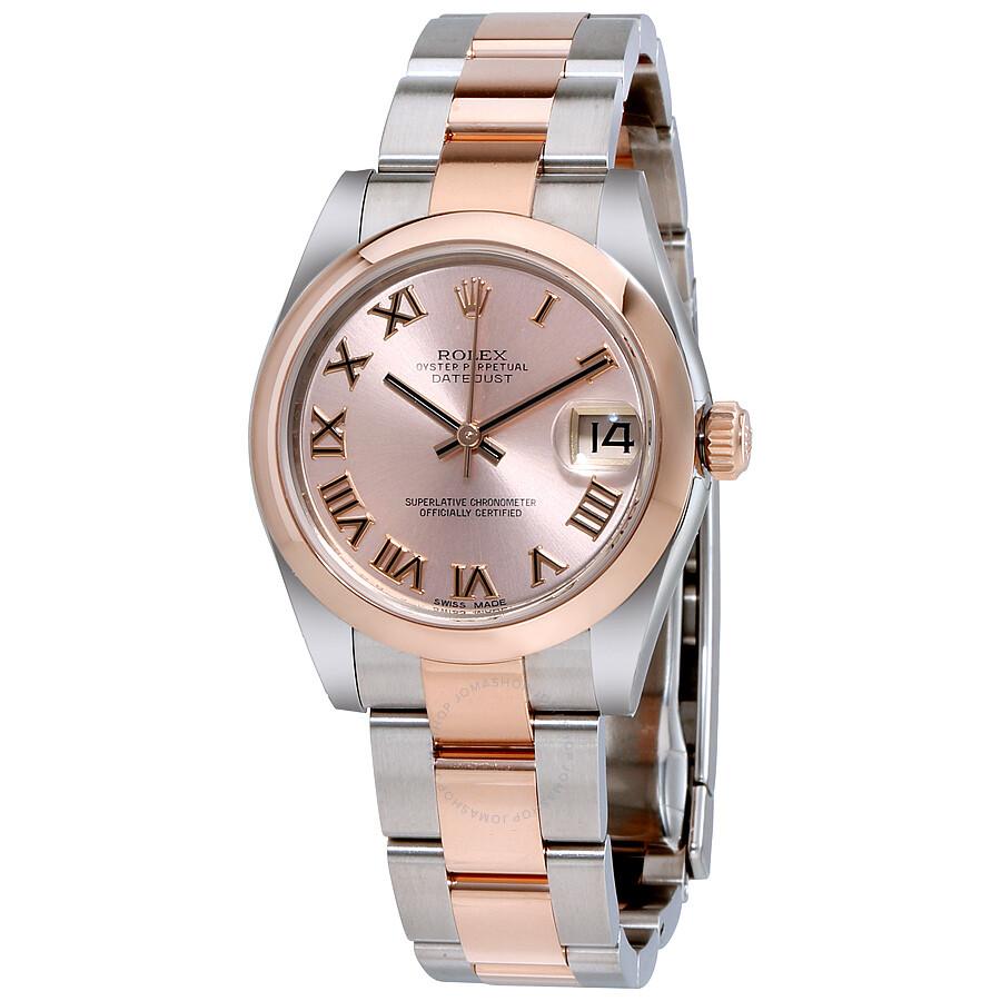 rolex datejust 31 pink dial steel and 18k rose gold oyster. Black Bedroom Furniture Sets. Home Design Ideas